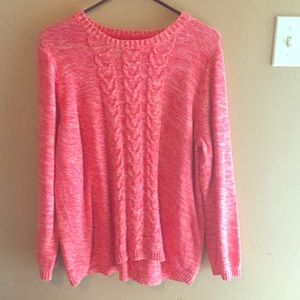 Croft&Barrow 1X is orange pink white sweater